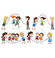 Children playing skipping rope vector image vector image