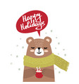 christmas card with cute bear vector image vector image