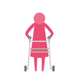 color pink silhouette pictogram elderly woman in vector image