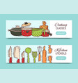cooking classes equipment banner vector image