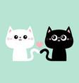 cute black cat kitty kitten set pink heart kawaii vector image vector image