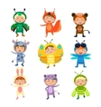 cute kids wearing insect and animal costumes vector image vector image