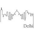 delhi city one line drawing vector image