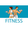 Fitness with muscled man and woman silhouettes Man vector image