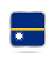 flag of nauru shiny metallic gray square button vector image vector image