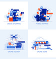 flat designed conceptual icons 4 vector image