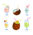 flat icons set of popular alcohol cocktail vector image