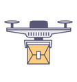 flying drone with parcel logistics and delivery vector image vector image