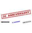 grunge 30 anniversary textured rectangle stamp vector image vector image