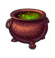 halloween cauldron with boiling green potion vector image vector image