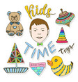 hand drawn kids toys collection childish colorful vector image