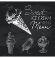 Ice cream hand drawn chalkboard design set