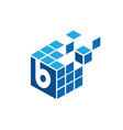 initial letter b with geometric blue square logo vector image