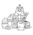 lion and fox in happy birthday celebration vector image vector image