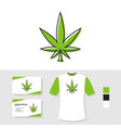 marijuana leaf logo design with business card and vector image vector image