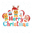 merry christmas lettering with animals vector image