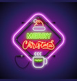 merry christmas with warm mug neon sign vector image vector image