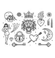 monochrome vintage tattoos composition vector image vector image