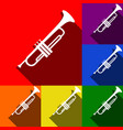 musical instrument trumpet sign set of vector image vector image