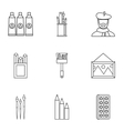 Paint drawing icons set outline style vector image vector image