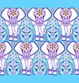 pattern with elephant and abstract flowers vector image vector image