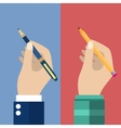 Pencil and pen in hand set for writing vector image
