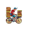 pizza delivery bike courier service vector image vector image