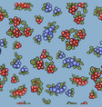 red and blue berries colorful seamless pattern vector image vector image
