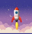 rocket launch ship start up night vector image vector image