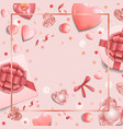 romantic pink template with top view objects vector image vector image
