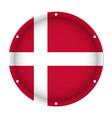 round metallic flag of denmark with screw holes vector image vector image