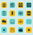 set of 16 harmony icons includes sunny weather vector image vector image