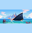shipwreck accident ship run aground sink in ocean vector image vector image