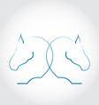 Sign of two horses stylized hand drawn vector image vector image