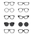 silhouettes different eyeglasses vector image