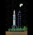 spaceship rocket on station vector image vector image