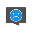 speech bubble with sad face colored icon chat vector image vector image