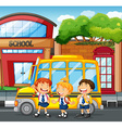 Students and school bus at the school vector image vector image