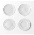 tableware set white plates on background vector image vector image