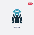 two color sea cow icon from animals concept vector image