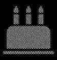 white halftone birthday cake icon vector image