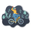 woman on bicycle on dark vector image vector image