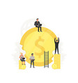 working people clean up and build the gold coin vector image vector image