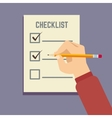 Hand holding pencil with clipboard checklist flat vector image