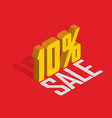 10 percent off sale golden-yellow object 3d vector image vector image