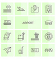 14 airport icons vector image vector image