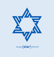 Abstract design element blue David star vector image vector image