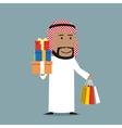 Arabian businessman with shopping bags and gifts vector image