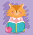 back to school cute fox reading book with apple vector image vector image