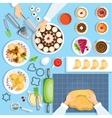 Baker Workplace Top View Set vector image vector image